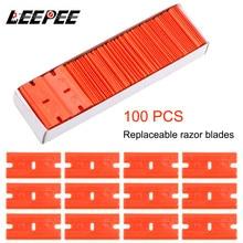 100pcs פיפיות תער פלסטיק להב Lable נקי תער דבק Remover חלון זכוכית נקי מגרד רכב גלישת מדבקת מגב