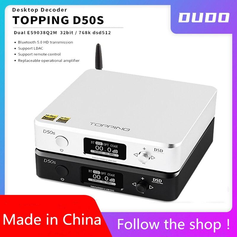 Garniture D50S USB DAC double ES9038Q2M Bluetooth 5.0 HiFi Audio décodeur de bureau hi-res PCM 32bit/768k DSD512 LDAC/AAC/SBC/aptX