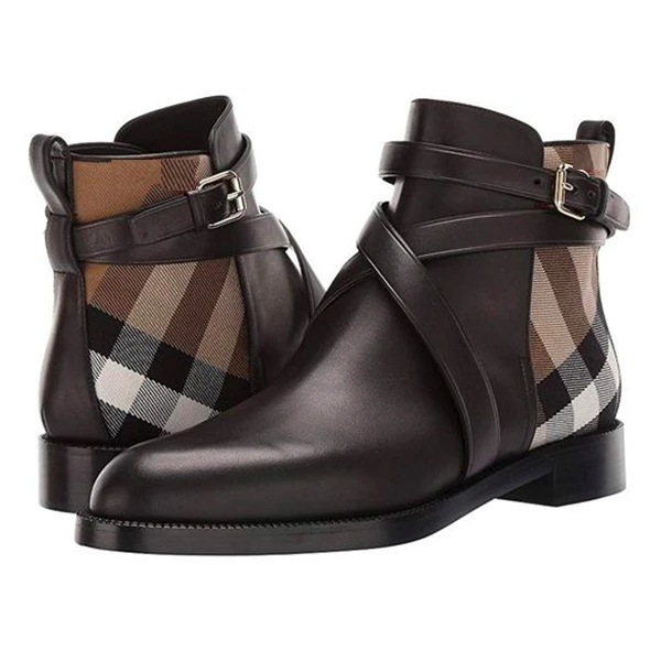 Men's Pu Leather Boots Buckle Design Plaid Ankle High Fashion Boots High Quality Low Heel Assorted Size 38-48