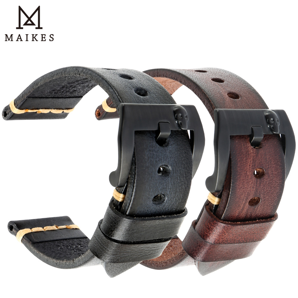 Maikes Genuine Cow Leather Band Watch Accessories 18mm-26mm Watch Strap Punk Rock 4 Color Skull Stainless Steel Watch Buckle