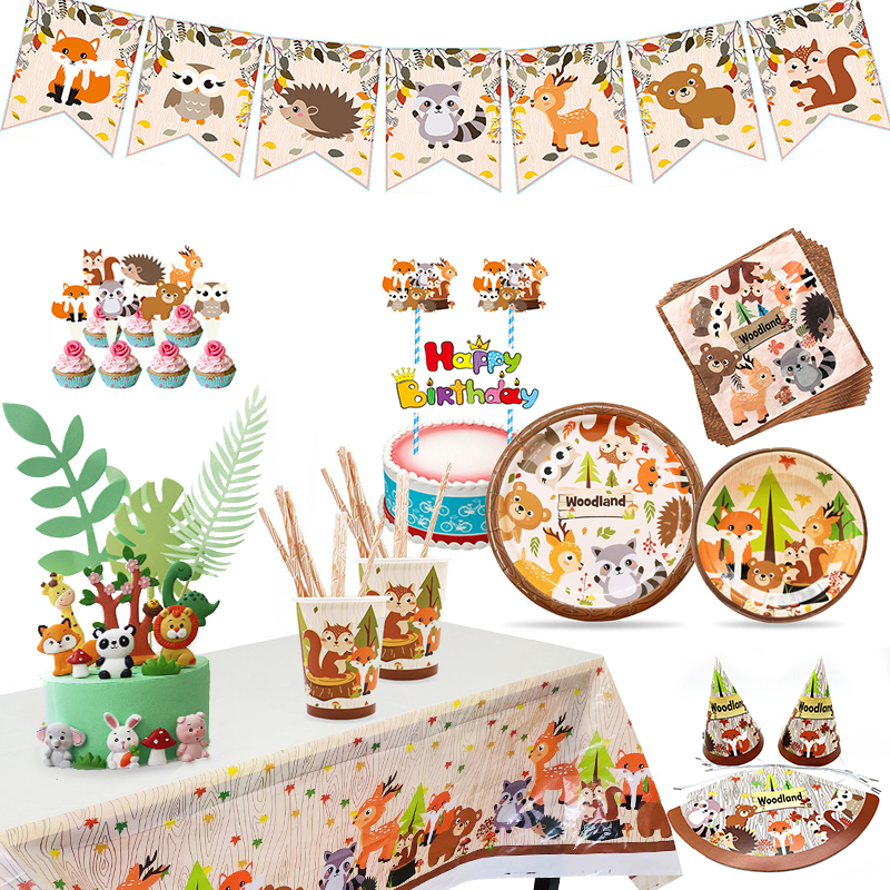 New Forest Animal Series WOODLAND Zoo Forest Fox Lion Elephant Small Animal Birthday Party Disposable Cake Decoration Party Supp