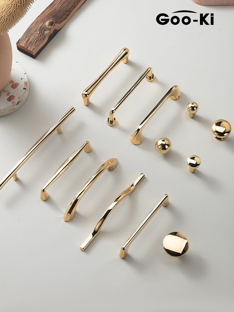 Boutons de tiroir en or brillant européen armoire de luxe abordable tire poignée de porte de placard poignées darmoire pour meubles Hardwar