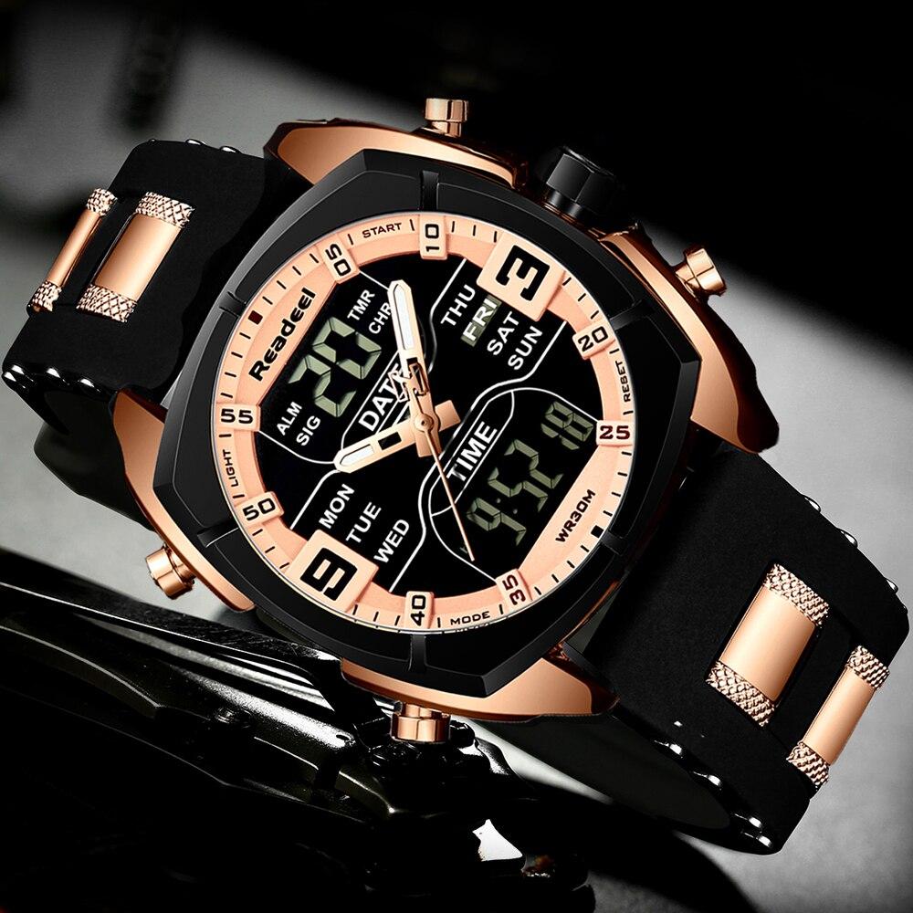 Mens Watches Luxury Brand Men Sports Watches Men's Quartz LED Digital Clock Male Rubber Military Wrist Watch Relogios Masculinos Men's Accessories Men's Watches