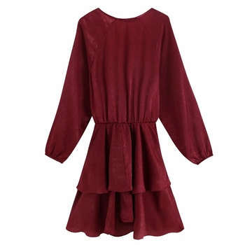 2019 women elegant cross v neck knotted casual a line dress female long sleeve cascading ruffles vestidos autumn dresses DS2795 1