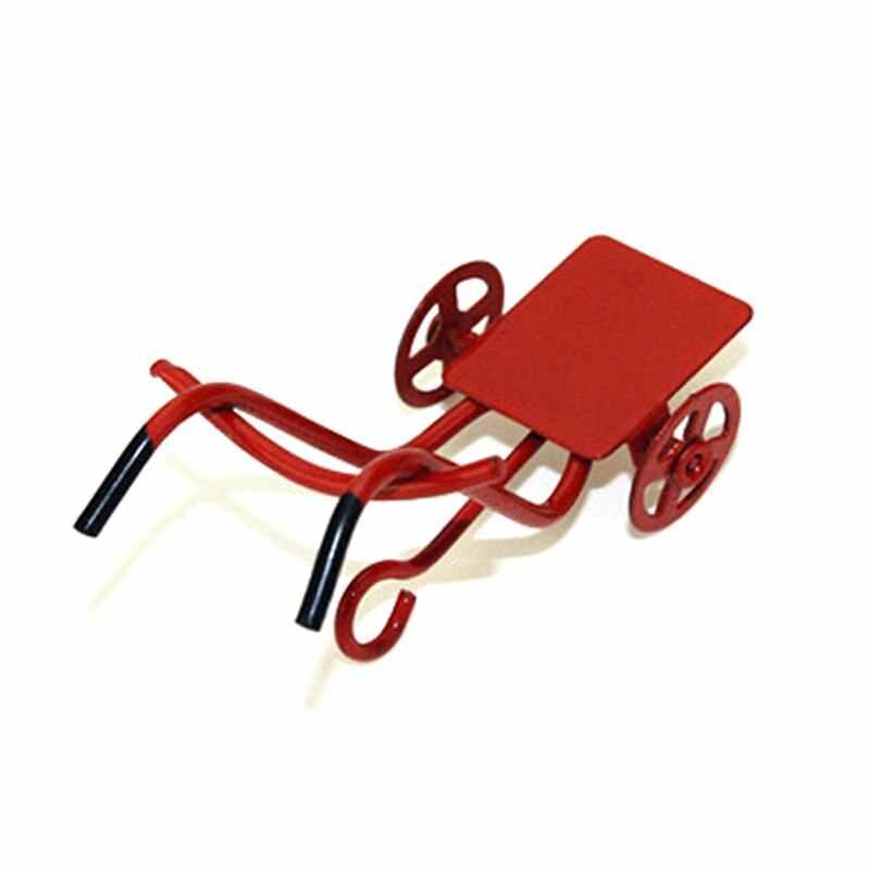 חם 1:12 מיני גן ריהוט Accessorie צעצוע עבור בית תפאורה מתנת קישוט חמוד בית בובות מיניאטורות מתכת אדום קטן משיכת עגלת