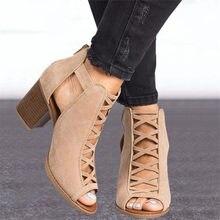Kadınlar yüksek topuklu balık ağzı sandalet kadın kapak tıknaz topuk gladyatör sandalet 2020 yaz bayanlar ayakkabı ayakkabı artı