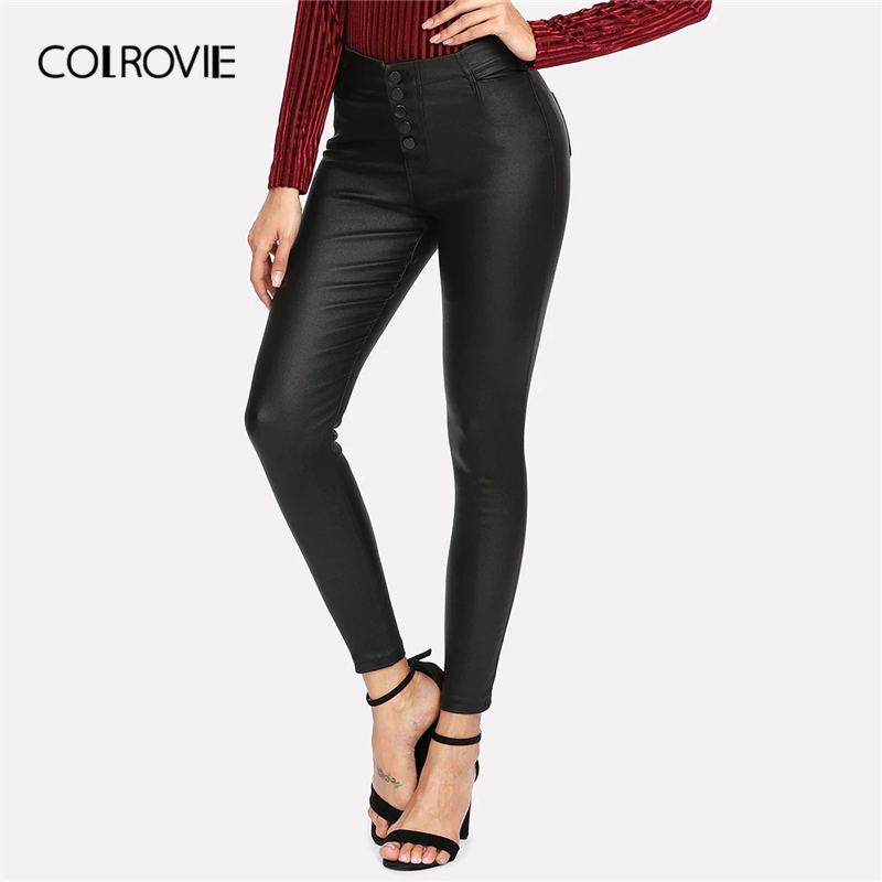 COLROVIE Black Faux Leather Pants Women Casual Solid Skinny Pants 2019 Autumn Glamorous Button Fly Ladies Tapered Trousers