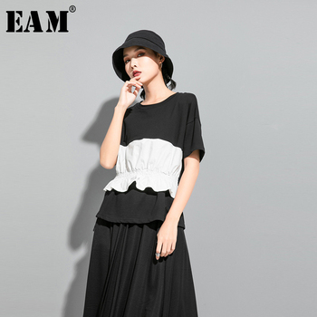[EAM] Women Contrast Color Ruffles Split Joint T-shirt New Round Neck Short Sleeve  Fashion Tide  Spring Summer 2020 1U5110