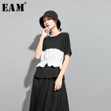[EAM] Women Contrast Color Ruffles Split Joint T-shirt New Round Neck Short Sleeve  Fashion Tide  Spring Summer 2020 1U5110