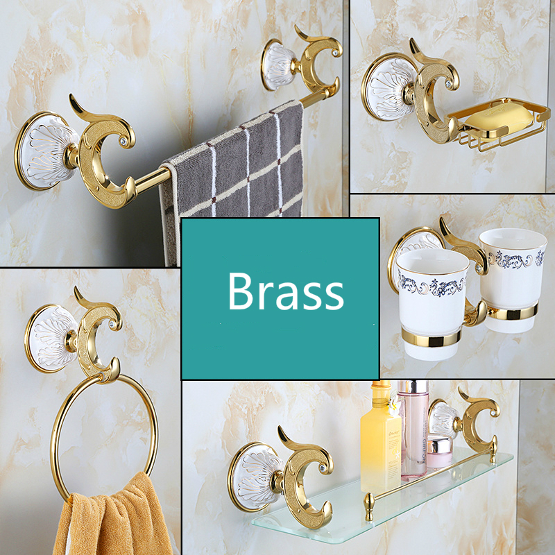 Bath Towel Rack Towel Ring Soap Dish Combination Set European Style Golden Phoenix Carved Bathroom Pendant Toilet Brush Holder