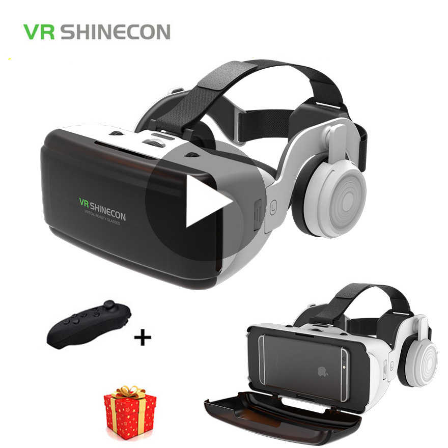 VR Shinecon Casque Helm 3D Kacamata Virtual Reality untuk Smartphone Smart Ponsel Headset Kacamata Teropong Video Game Wirth Lensa