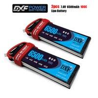 DXF-batería Lipo 2S 7,4 V 6500mah 100C-200C 2S XT60 T Deans XT90 EC5 para Dron, avión, coche, carreras, camión, barco, piezas de control remoto