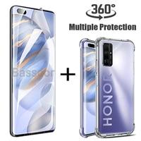 Originale lusso 360 ° con copertura completa trasparente Silicone Custodia per cellulare per Honor 10 Lite 10i 9x 8x 20 Pro Hydrogel pellicola protezioni di schermo Non vetro temperato