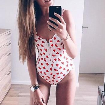Monokini New Zipper One Piece Women Swimsuit Vintage Bathing Suits Beachwear Print Swim Wear Plus Size Monokini 2021 #T2Q 3