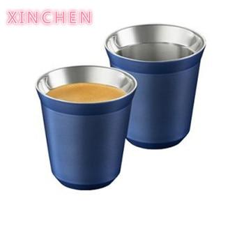 цена на Espresso Mugs 80ml 160ml Set of 2 ,Stainless Steel Espresso Cups Set, Insulated Tea Coffee Mugs Double Wall Cups Dishwasher Safe