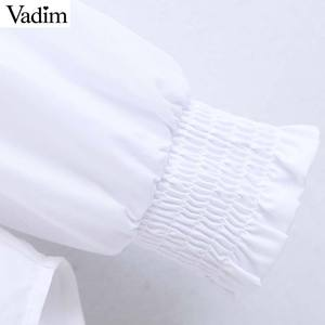Image 4 - Vadim kadınlar zarif tüvit patchwork bluz uzun kollu ruffled yaka gömlek tatlı tiki tarzı kadın rahat chic tops LB708