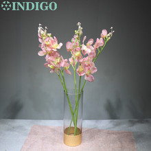INDIGO- 5 Stems Pink Vanda Phalaenopsis Orchid Silk Flower Artificial Wedding Floral Party Free Shipping