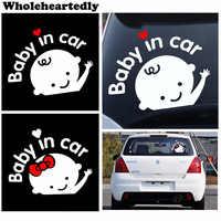 Vente chaude voiture style 3D dessin animé autocollants bébé dans la voiture réchauffement voiture-autocollant bébé à bord voiture accessoires de haute qualité