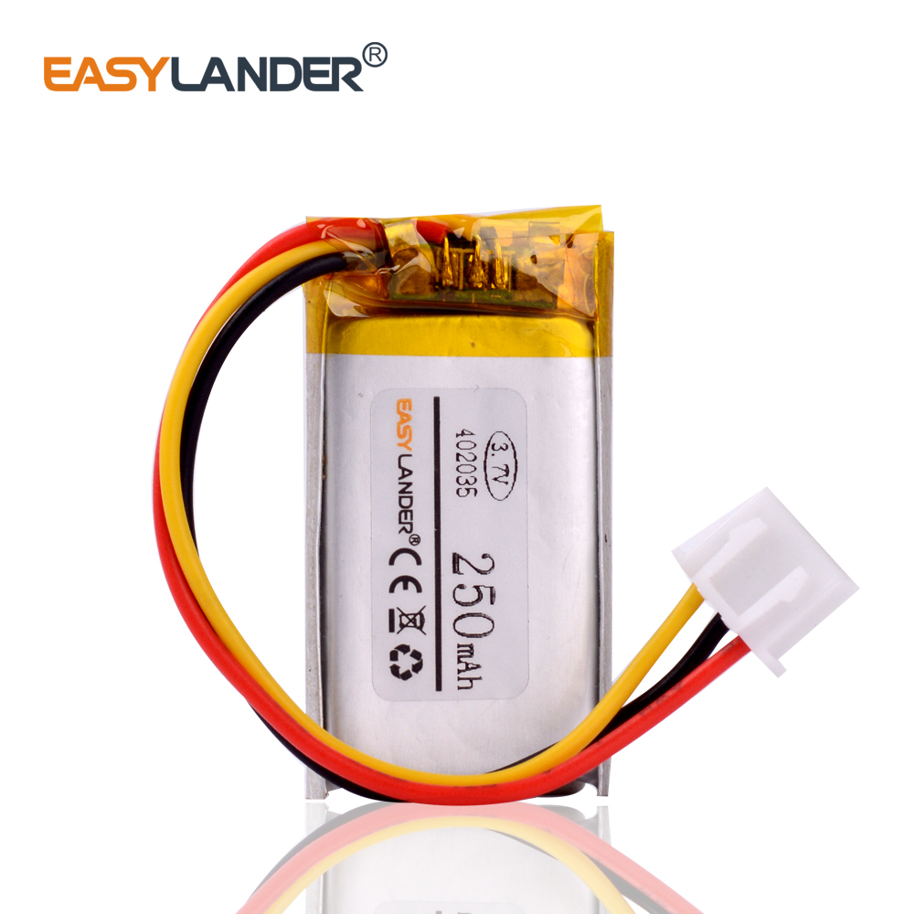 3.7V 250mAh JST XHR 2.54mm 3pin connector <font><b>402035</b></font> Lithium Polymer LiPo Rechargeable <font><b>battery</b></font> for GPS Mp3 registrar xiaomi dvr image