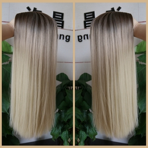 Image 3 - FAVE Mixed Ash Brown Blonde Straight Bob Shoulder Length Synthetic Wig Middle Part Cosplay Party Heat Resistant Fiber For Women