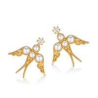 Cute 925 Sterling Silver Pearl Swallow Stud Pierced Earrings for Women Chic 9K Plated Crystal Animal Sticks Fine Jewelry Gift