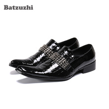 Batzuzhi Fashion Formal Shoes Men Pointed Toe Genuine Leather Dress Shoes Men Oxfords Black Business Shoes Male Zapatos Hombre goodyear manmade shoes wear business bovine custom made shoes genuine three joints carved tip round toe formal pointed toe ankle