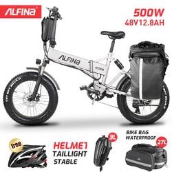 ALFINA electric bicycle folding 500W 20 inch Snow Ebike fat tire electric bike 48V lithium battery ebike folding mountain bike