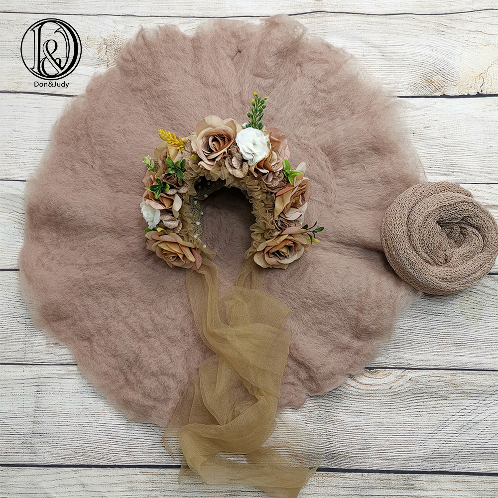 Don&Judy Newborn Photography Set Handcraft 100% Wool Felted Blanket & Newborn & Sitter Floral Bonnet Accessories For Photo Shoot