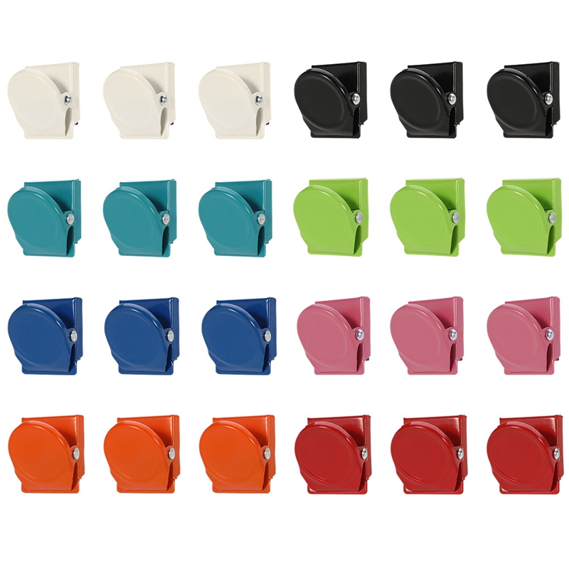 24PC Magnetic Adsorption Binder Clips For Home Office Books File Paper Organizer Clip Food Bag Clips Note Clips Wide School Gift