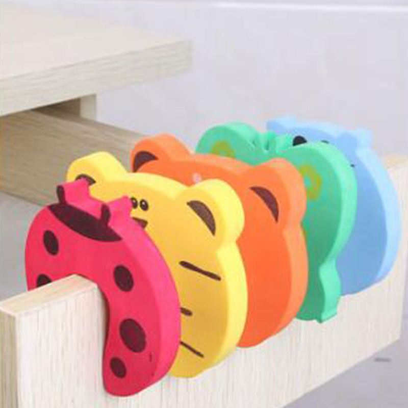 5Pcs/Lot Protection Baby Safety Cute Animal Security Door Stopper Baby Card Lock Newborn Care Child Finger Protector Accesses