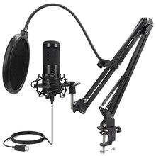 Microfono USB in metallo microfono a condensatore microfono D80 Mic con supporto per Computer portatile PC Karaoke registrazione in Studio