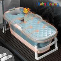 Tina de baño brillante para bebé, 1,4 m/55in, masajeador portátil de rodillos para el hogar, bañera humeante para adulto, bañera gruesa plegable de plástico para familia