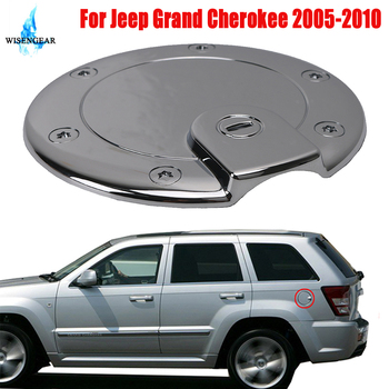 Chrome Gas Fuel Tank Door Cover For Jeep Grand Cherokee 2005-2010 Car Oil Filler Cap Cover External Fuel Tank Door Protection image