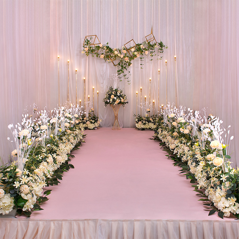 Nouvelle route de mariage cité fleur rangée avec mousse Base soie fleur décoration de mariage fond arc fleur mur étape pré-fonction - 3