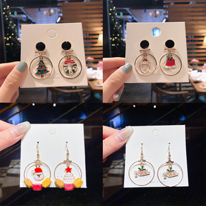 New Hot Christmas Earrings Delicate Santa Claus Christmas Tree Bells Xmas Elk Stud Earring For Women Girl Creative Party Jewelry