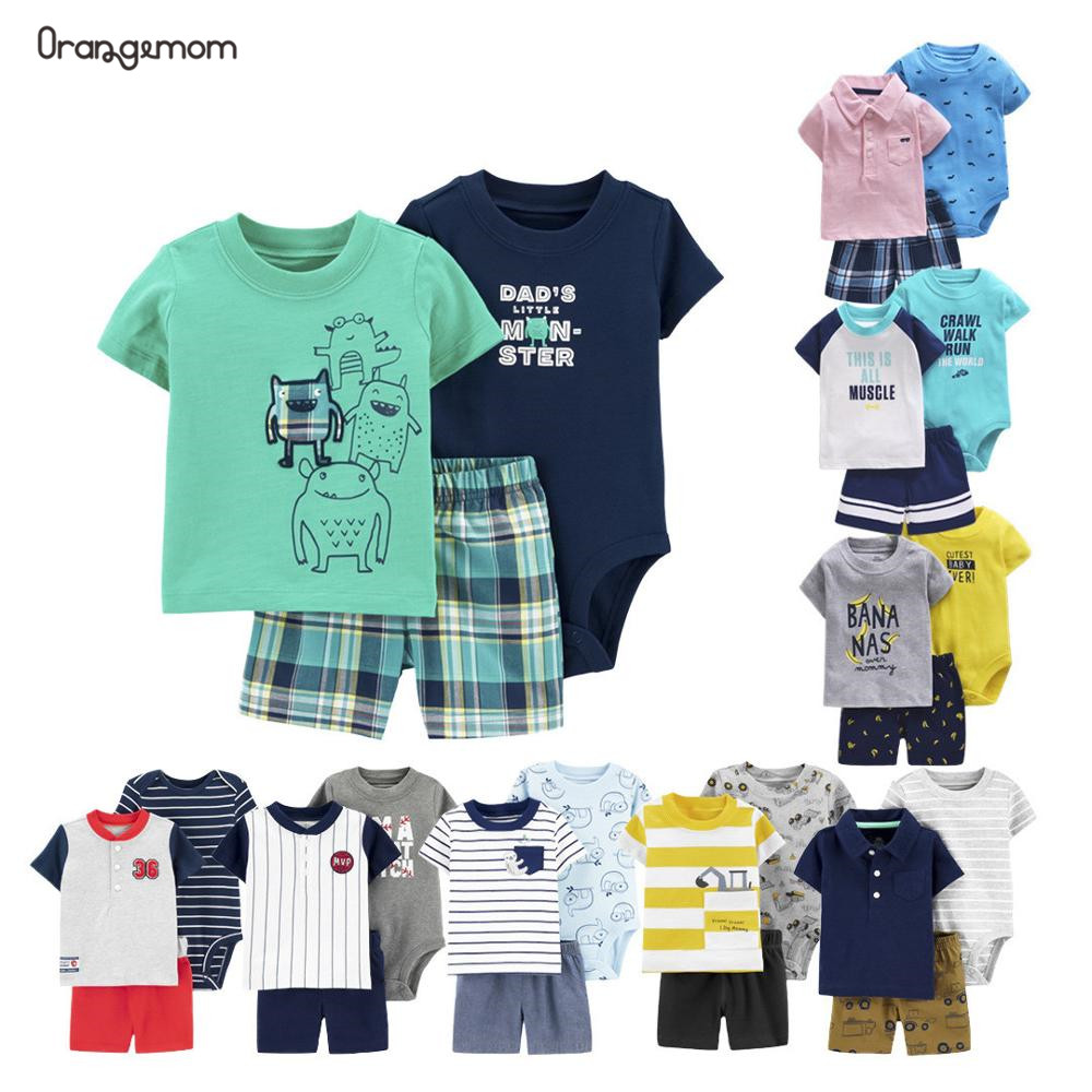 Orangemom 2020 New Summer Baby Set 3 Pcs Baby Boy Outfit Pure Cotton Baby Boy Clothes, 0-1-2 Years Old Infantil Roupa Menina