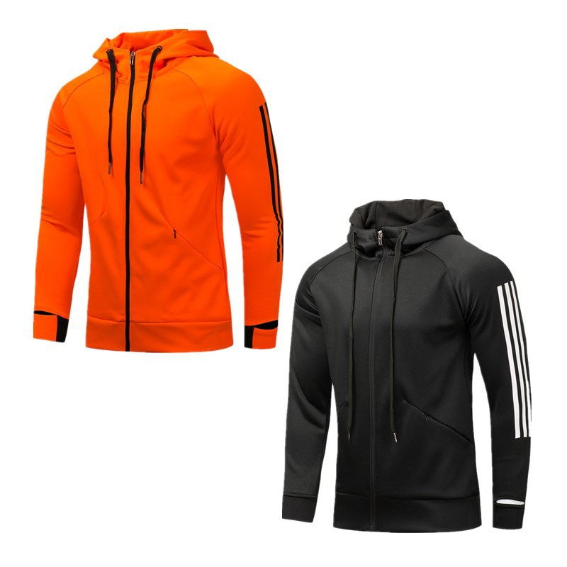 Spring And Autumn Football Coat Appearance Training Suit Men's Long Sleeve Sports Cardigan Hooded Jacket Set Customizable