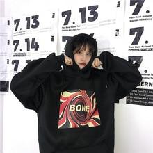 Fleece Hooded Hoodies Women Pullover Letter Print Sweatshirt Casual Winter Warm Oversized Female