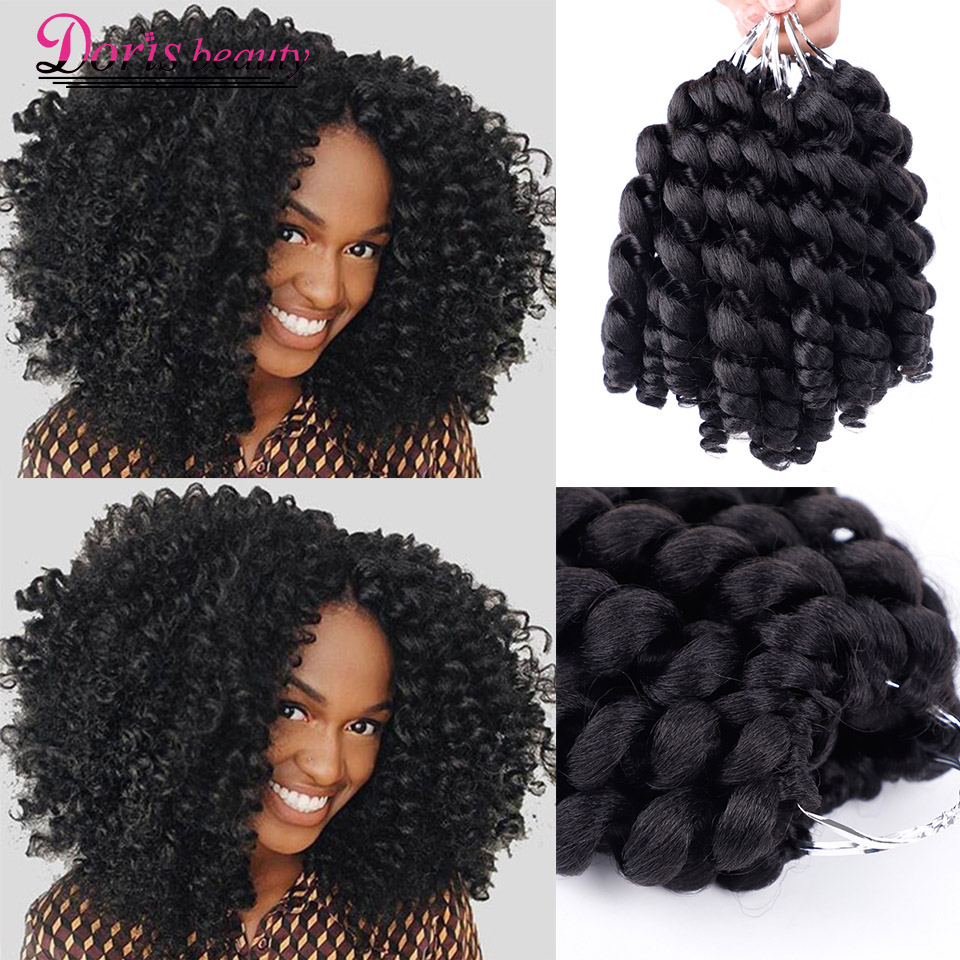 Doris Beauty Ombre Braiding Hair Jumpy Wand Curl Crochet Braids Jamaican Bounce 8inch Synthetic Crochet Hair Extension For Women