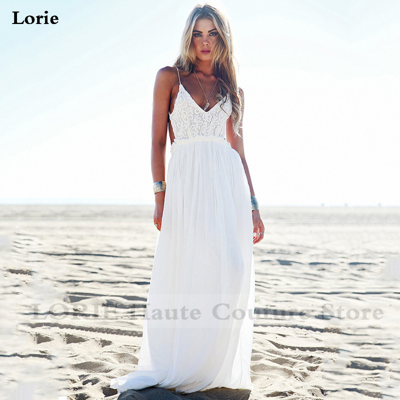 LORIE Boho Wedding Dress Spaghetti Strap A Line Chiffon Long Backless Beach Wedding Gown Appliques Lace Top Bride Dress 2020