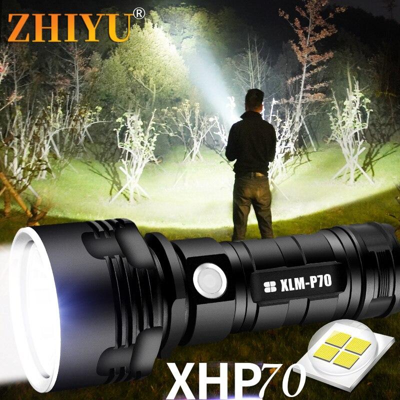 Супер мощный светодиодный фонарик XHP70/L2 Наружное освещение тактический фонарь USB перезаряжаемая водонепроницаемая лампа ультра яркий фона...