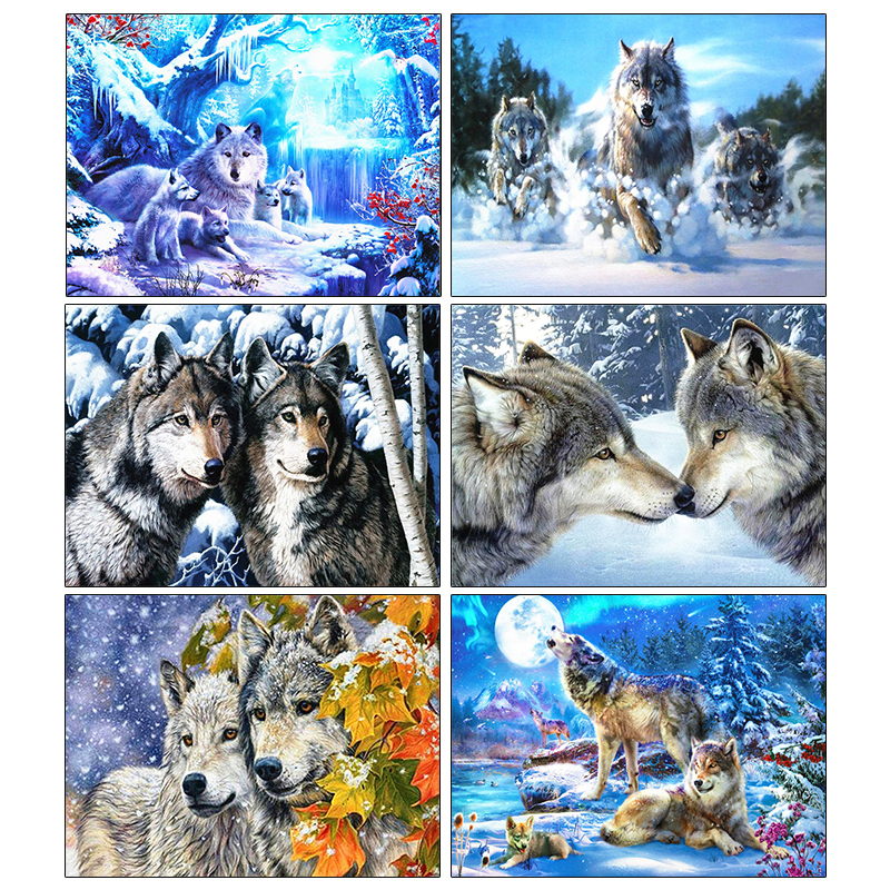 Купить pdmdog алмазная картина полностью квадратная волчья вышивка