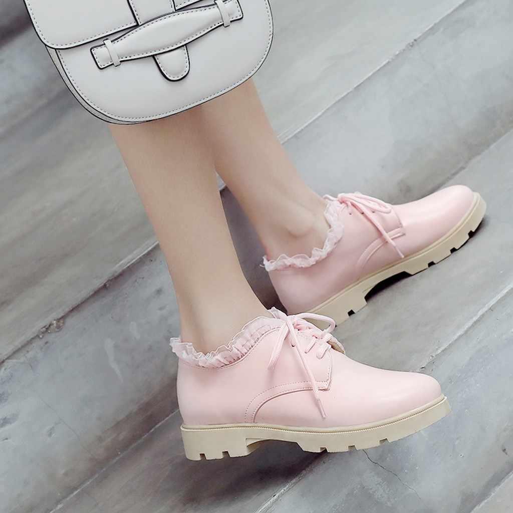 2019 แฟชั่นผู้หญิงรองเท้าหนัง Pu รองเท้า Lace Up รองเท้าสบายๆรองเท้าสบายนุ่มขนาด 35 -43 # J30