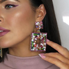 JIJIAWENHUA New Trend Sparkling Color Rhinestone Women's Drop Earrings Dinner Party Fashion Statement Jewelry Accessories