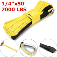 1/4*50inch 7000lbs Yellow Synthetic Winch Line Cable Rope Towing Cable W/ Rock Guard String For ATV UTV Off-Road(China)