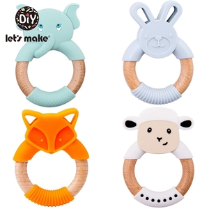 Let's Make 1pc Baby Toys Silicone Baby Teether Beech Wooden Ring Hand Teething Rattles Musical Chew Play Gym Montessori Stroller
