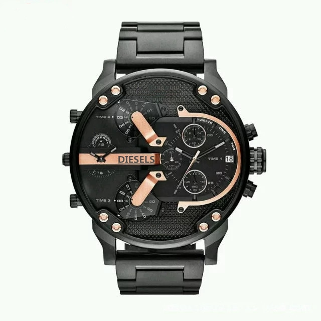 2019 reloj Montre luxe Military Clock Leather Strap 53MM Big dial DZ Stainless steel Watch Men's Sport Quartz Diesels Watch