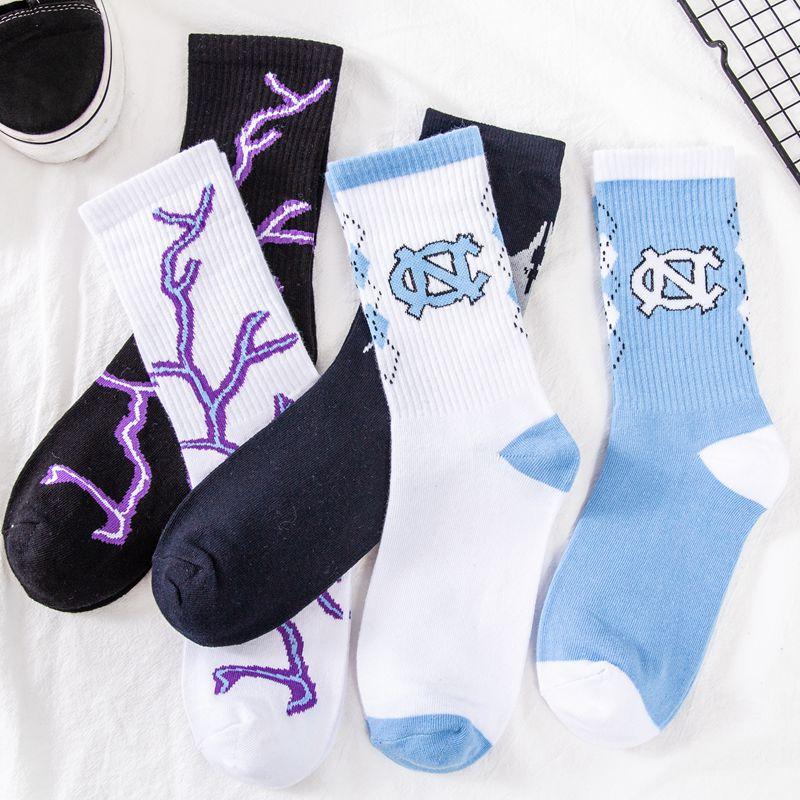 Women Socks Harajuku Lightning Hip hop Cotton Novelty Socks Couple Streetwear Black White Blue Japanese Fashion High Quality Hot