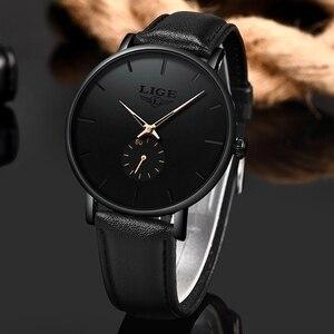 Image 3 - LIGE часы мужские модные повседневные подарочные деловые часы мужские водонепроницаемые кварцевые наручные часы черные кожаные часы Relogio Masculino