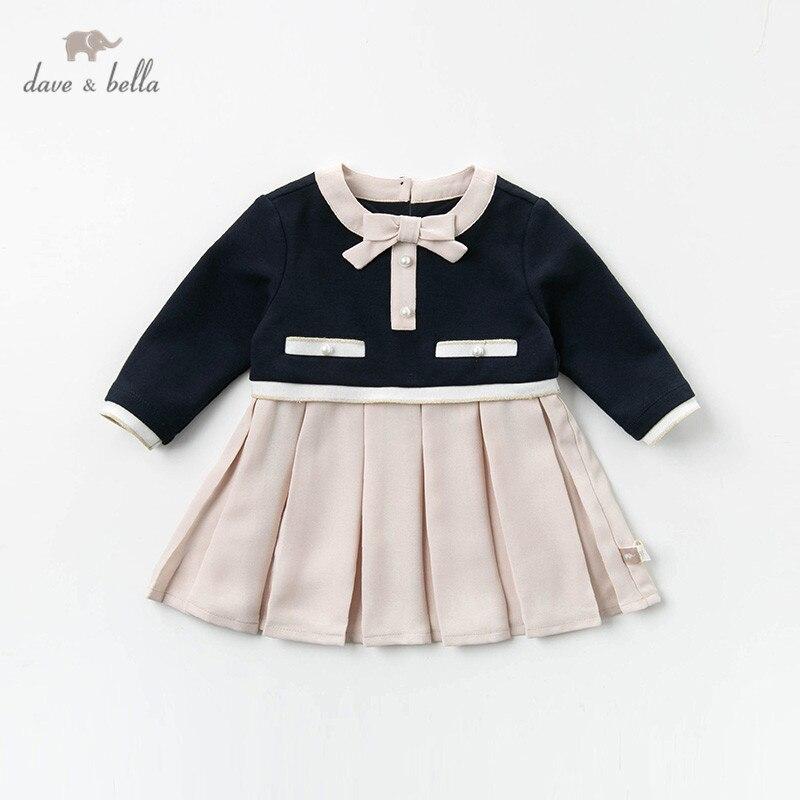 Dave bella/DB12960 весеннее платье для маленьких девочек, милое драпированное платье принцессы с бантом, Детские Модные Вечерние Платья, детская одежда в стиле Лолита|Платья| | АлиЭкспресс